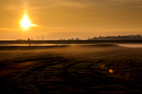 Edinburgh Airport, airside, morning fog settles over the airfield, 29 April 2014