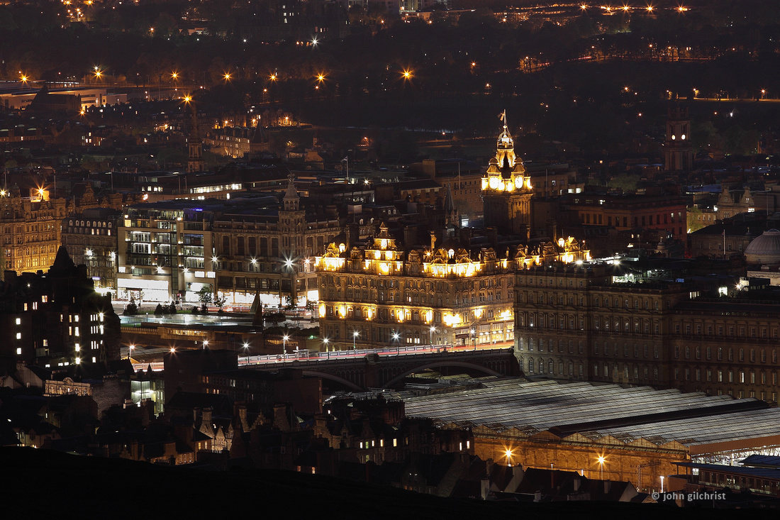 Photo of Edinburgh at night, Arthur's  Seat offered the perfect view over the city.