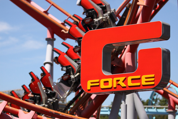 About the photographer series, G Force sign at theme park, an image on John Gilchrist photography