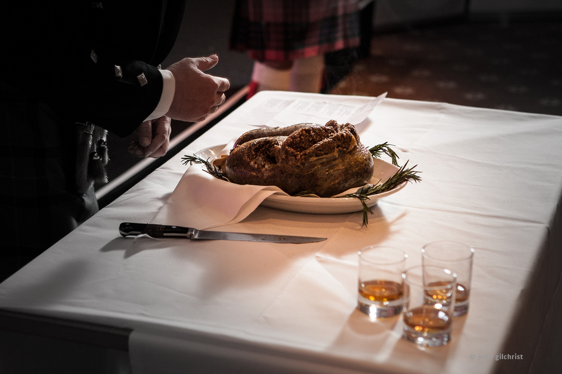 Haggis dinner on the table at a Burns supper