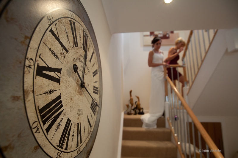 Wedding time, clock with bride